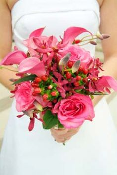 Beautiful Pink Bridal Bouquet with Calla Lillies and Roses.