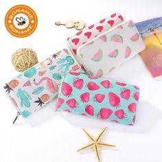 ac53f180a BONAMIE New High Quality Modern Women Leather Clutch Wallet Brand Printing  Love Strawberry Watermelon Flamingo Purse