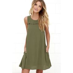 Break the Spell Olive Green Dress ($48) ❤ liked on Polyvore featuring dresses, green, embellished dress, cut out dress, keyhole dress, olive green dress and key hole dress