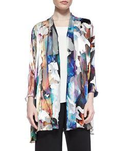 Hand-Painted Silk-Blend Devore Cardigan  by Caroline Rose at Neiman Marcus.