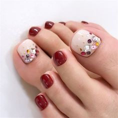 elegant and stylish bright french toe nails design; elegant toe nails in bright colors; bright color design nails for toes; Pedicure Colors, Pedicure Designs, Pedicure Nail Art, Toe Nail Designs, Toe Nail Art, Nails Design, Fall Pedicure, Pretty Toe Nails, Cute Toe Nails