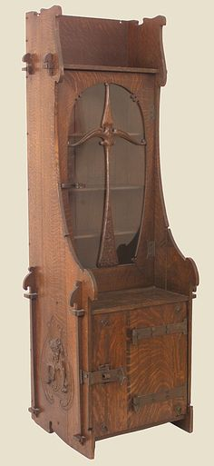 Charles Rohlfs 1853 1936 Bookcase Cabinet White Oak Gl Arts And Crafts Furniturehome