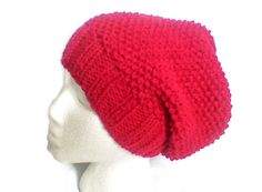 Red beanie hat, Knitted Slouchie, chemo hat, holiday present, gift under 30, for her birthday, new fashion cap, unique knit hat, woman gift - pinned by pin4etsy.com