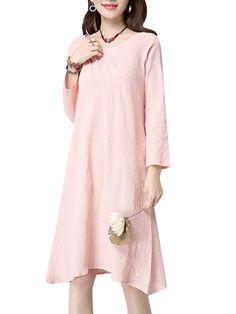 Sale 17% (23.7$) - Casual Women Vintage Long Sleeve Solid Color Loose Cotton Dress
