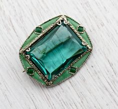 Vintage Costume Jewelry for Sale   SALE - Antique Art Deco Brooch - Green Enamel & Glass Stone Silver ...