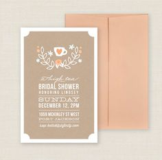 Printable Tea Party Bridal Shower Invitation for High Tea