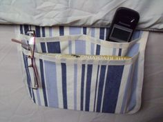 bed caddy bed pocket storage organizer blue by FingerPrickingGood