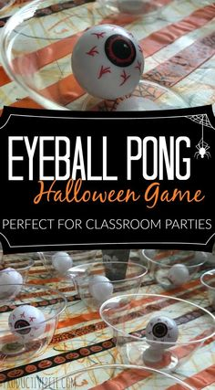 Check out this Eyeball Pong Halloween Game for Kids! It's great for classroom parties, large groups of kids, as well as an easy minute-to-win-it game! games games at work Eyeball Pong Halloween Game for Kids Halloween Tags, Halloween Designs, Classroom Halloween Party, Halloween Activities For Kids, Halloween Party Games, Halloween Carnival, Theme Halloween, Halloween Birthday, Halloween College