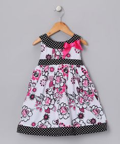 Take a look at this White & Pink Rose Bow Dress - Girls by Swirl & Twirl Collection on #zulily today!