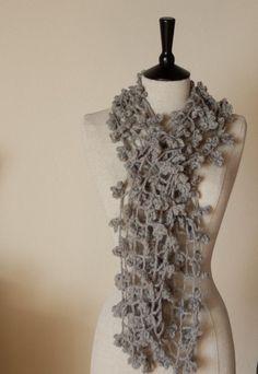 PDF CROCHET PATTERN  Scarf Shade of Spider - easy beginner grey gray large flower lace shawl