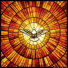 """Dove Burst"" Religious Stained Glass Window"