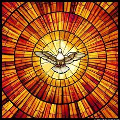 """Dove Burst"" Religious Stained Glass Window"