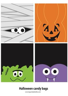 Halloween Template For Candy Bags Disney Halloween, Halloween Imagem, Halloween Taschen, Bonbon Halloween, Moldes Halloween, Halloween Candy Bags, Halloween Templates, Fröhliches Halloween, Halloween Prints