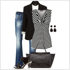 CHATA'S DAILY TIP: Transform your Casual-Friday look into an elegant statement in line with this season's latest trend, monochrome – just add a black-and-white chevron top to your staple jeans and black blazer. The clever diagonal lines and soft ruching of the longer top will add fullness to a smaller bust. Smart accessories complete this stylish look. COPY CREDIT: Chata Romano Image Consultant, Marlise du Plessis http://chataromano.com/consultant/marlise-duplessis/ IMAGE CREDIT: Pinterest