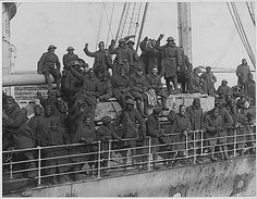 This photograph is of the 369th Infantry, known as the Harlem Hellfighters. Over 380,000 African Americans who served in World War I. The 369th helped to repel the German offensive, and they were first Allied unit to reach the Rhine. They were the first Americans to be awarded the Croix de Guerre, and 171 of the officers and men received individual medals for their actions. Source: US National Archives