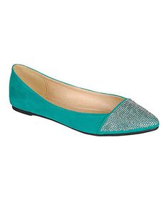 Emerald Object Flat by Bamboo  ~ The combination of teal green and glittery studs results in a beautiful finish on a classic pair of flats.
