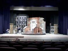 "The set of ""A Christmas Carol"" on the Smothers Theatre stage at Pepperdine University, Malibu CA.  How I miss being on it!"