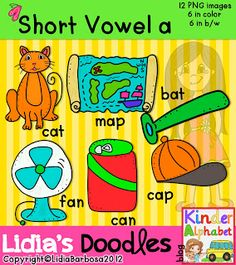 Short Vowel a Clip Art with CVC Word Patterns. All short vowels are also available. $