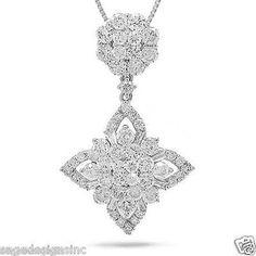 2.03 CT 18K White Gold Baguette and Round Diamond Star Design Pendant Necklace #SageDesignsLA #Pendant