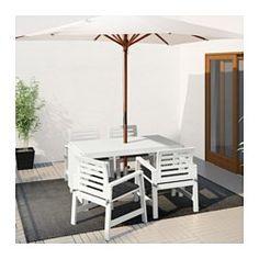 IKEA - ÄPPLARÖ Table and 4 armchairs, outdoor white, Stegön beige Outdoor Armchair, Drop Leaf Table, Outdoor Decor, Patio Set, Patio Furniture Collection, White Outdoor Table, Outdoor Table Settings, Patio Furniture, Ikea