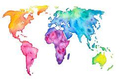 World Map Prints Watercolor Watercolor World Map, World Map Painting, Kids World Map, World Map Wallpaper, World Map Wall Art, World Map Poster, Watercolor Paintings, World Map Printable, Canvas Wall Art