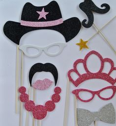 1 Western Photo Booth wedding photo booth mustache on stick mustache bash pipe golden star