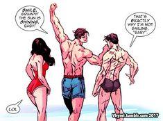 """It was sunny today so I doodled this. #Superman #Batman #WonderWoman #Trinity"""