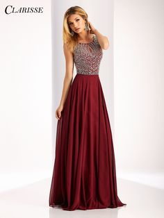 Crystal embellished with a-line chiffon skirt and keyhole open back.