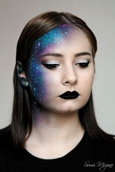Halloween Makeup Ideas : I love galaxy themes so I have decided to do some cosmic makeup. Model: Reitsu Halloween Makeup Ideas : I love galaxy themes so I have decided to do some cosmic makeup. Sfx Makeup, Cosplay Makeup, Costume Makeup, Makeup Art, Makeup Themes, Alien Makeup Ideas, Beauty Makeup, Gold Makeup, Fairy Makeup