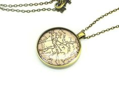 Bronze Pittsburgh map necklace pendant handmade by MapPendant