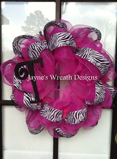 "Hot Pink mesh wreath with zebra print ribbon for girls bedroom, with initial ""T"""