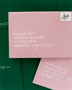 Paper Party 2018 Invitations on Colorplan Forest Green Paper Green Paper, Say Hello, Cards Against Humanity, Invitations, Envelopes, Designer, Calligraphy, Party, Fiesta Party