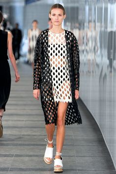 London Fashion Week's Top 10 Trends #refinery29  http://www.refinery29.com/2014/09/74753/london-fashion-week-trends-2014#slide25  Mostly MeshSpeaking of clothes with visual tricks, mesh is an easy way to stay ventilated in the hotter months while not looking too threadbare. Though we've seen it in the past used rather sparingly, it's popping up all over for spring '15. Hole-y moly. Whistles