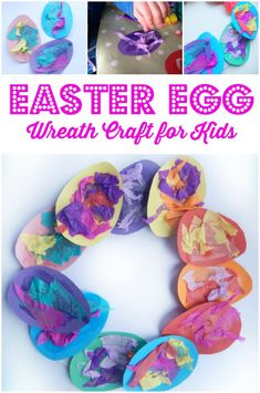 This easy Easter egg wreath craft is perfect for preschoolers to make and would make a great Easter group activity too! Free downloadable template included.