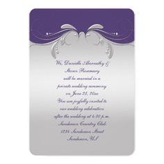 Reception Only Dusty Purple Ornate Silver Swirls Invitation #receptiononly #postwedding