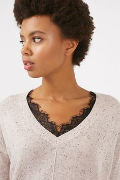 Longline Nep Lace V-Neck Knitted Jumper