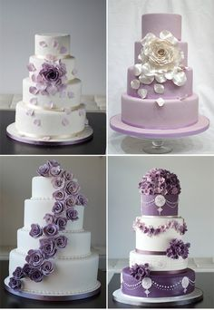 Beautiful Cake Pictures: Beautiful Assorted Purple Accented Wedding Cakes: Cakes with Flowers, Purple Cakes, Wedding Cakes -For more gerat wedding inspiration, tools and tips visit us at http://www.brides-book.com