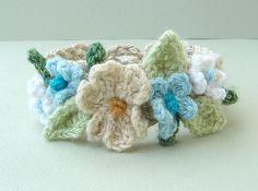 Crochet Cream and Turquoise Flowers Bracelet   Flickr - Photo Sharing!