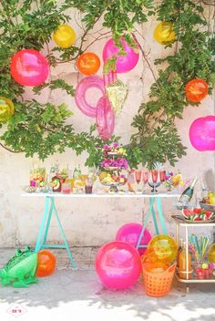 pool party with pool toys as decorations
