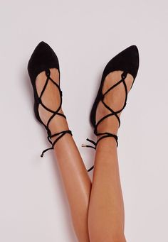 Lace up black ballerina flats