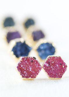 Hie earrings gold druzy hexagon stud earrings by kealohajewelry https://www.etsy.com/listing/172575181 http://instagram.com/kealohajewelry
