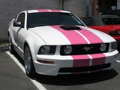 Pink and White Mustang