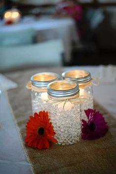 Use some blue daisies! Daisy Wedding, Fall Wedding, Our Wedding, Dream Wedding, Wedding Stuff, Red Mason Jars, Mason Jar Diy, Water Beads Centerpiece, Wedding Centerpieces Mason Jars