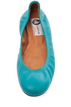 LANVIN Ballerina Flat in Bleu Canard from @FORWARD by Elyse Walker