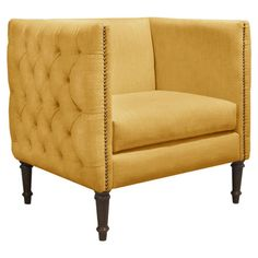 Foam Cushioned Club Chair With Tufted Nailhead Trimmed Upholstery And A  Pine Wood Frame