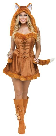 #121724 Be on the prowl this Halloween as this Foxy Lady. The Foxy Lady Costume includes a brown dress with fur embellishment and plush tail. The matching character hood with ears and pom poms complet