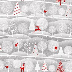 Henry Glass Holiday Frost Fabric Red Reindeer by AllegroFabrics, $10.00