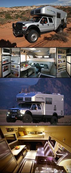 Earthroamer XV-LTS is a truck with the interior of a luxury apartment - Vehicles Truck Camping, Camping Gear, Motorhome, Bug Out Vehicle, Camper Caravan, Off Road Camper, Van Living, Expedition Vehicle, Best Luxury Cars