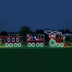 Giant Train - 3 Car Animated LED Light Display 35 ft W-Made in the USA. Display Size 10 ft H x 35 ft W $8,999.00 http://www.christmasnightinc.com/c160/c302/Giant-Train-3-Car-Animated-LED-Light-Display-35-ft-W-p1205.html#