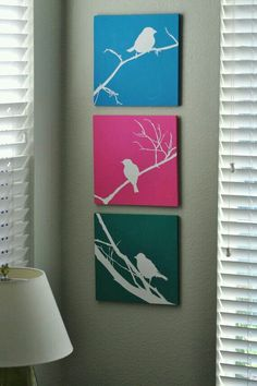 Items similar to Set of Three Bird Silhouette Hand Painted Signs on Etsy Diy Canvas Art, Diy Wall Art, Painting Canvas, Bird Canvas, Wall Decor, Diy Painting, Diy Tableau, Cuadros Diy, Bird Silhouette